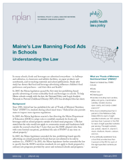 Maine's Law Banning Food Ads in Schools