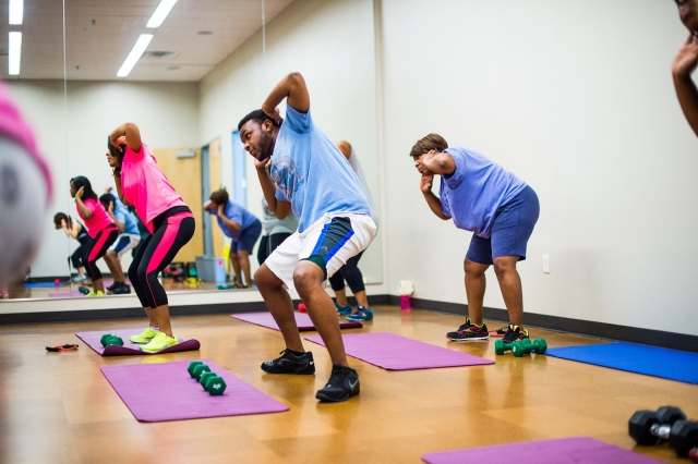 A group exercise class in Durham.