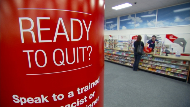 CVS Ready to Quit sign inside pharmacy store