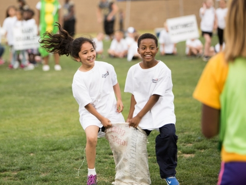 Children engage in a physical activity break in the classroom at Cleminson Elementary School in El Monte, California.