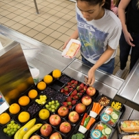 Students offered healthy foods in school cafeteria.