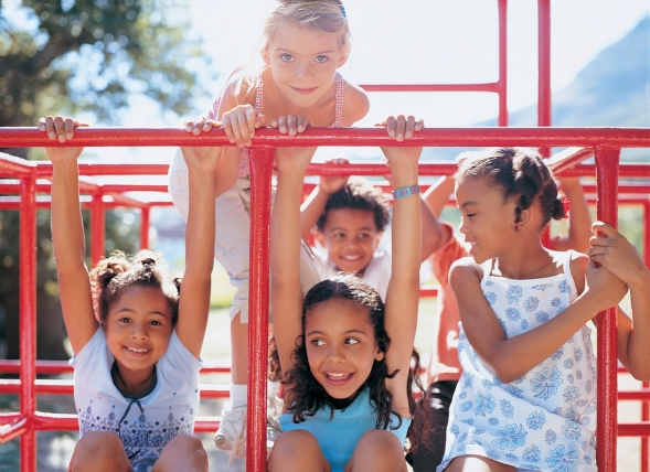 A group of young girls  playing on a Jungle Gym.