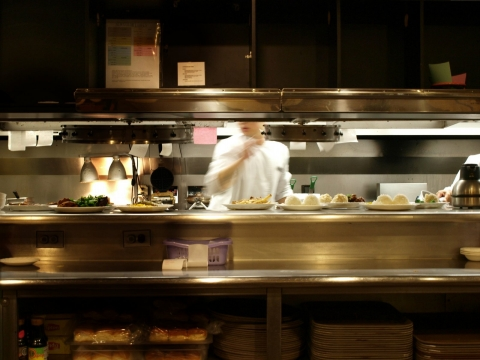 Restaurant kitchen.