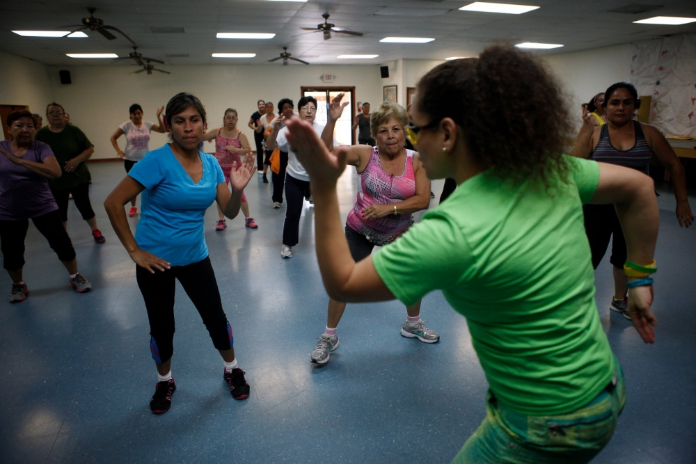 Women participate in a zumba class in Brownsville, Texas.