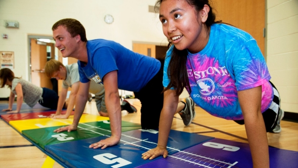 Students participating in gym class.