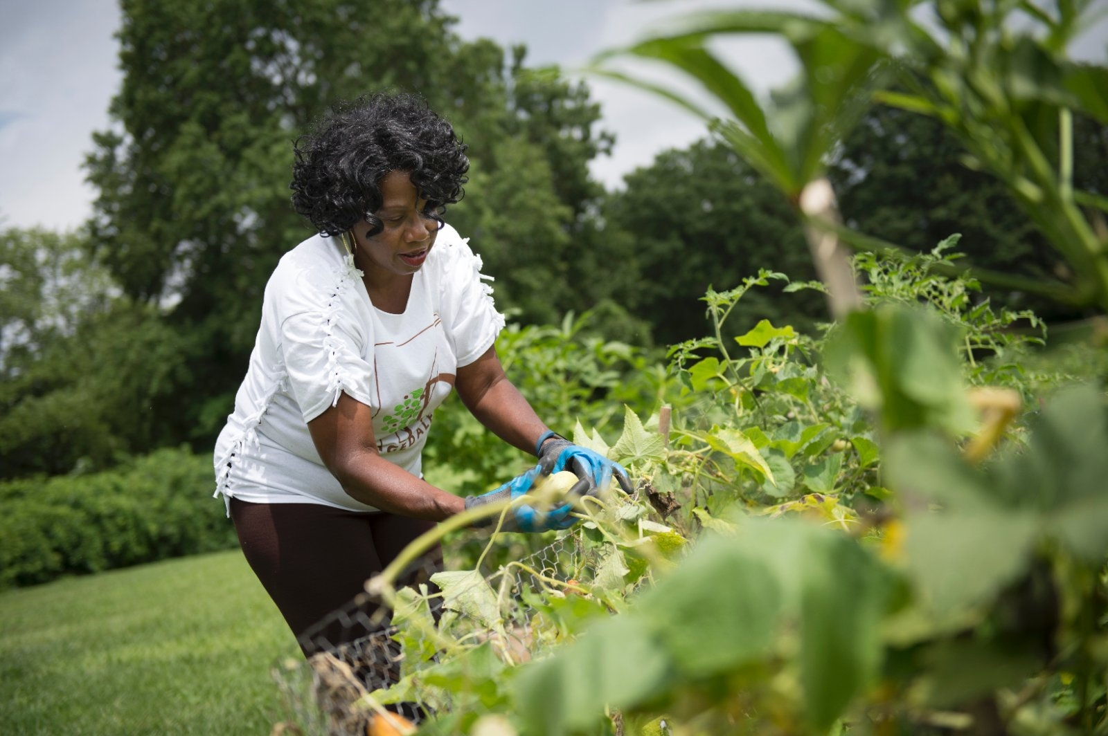 A woman works in the community garden
