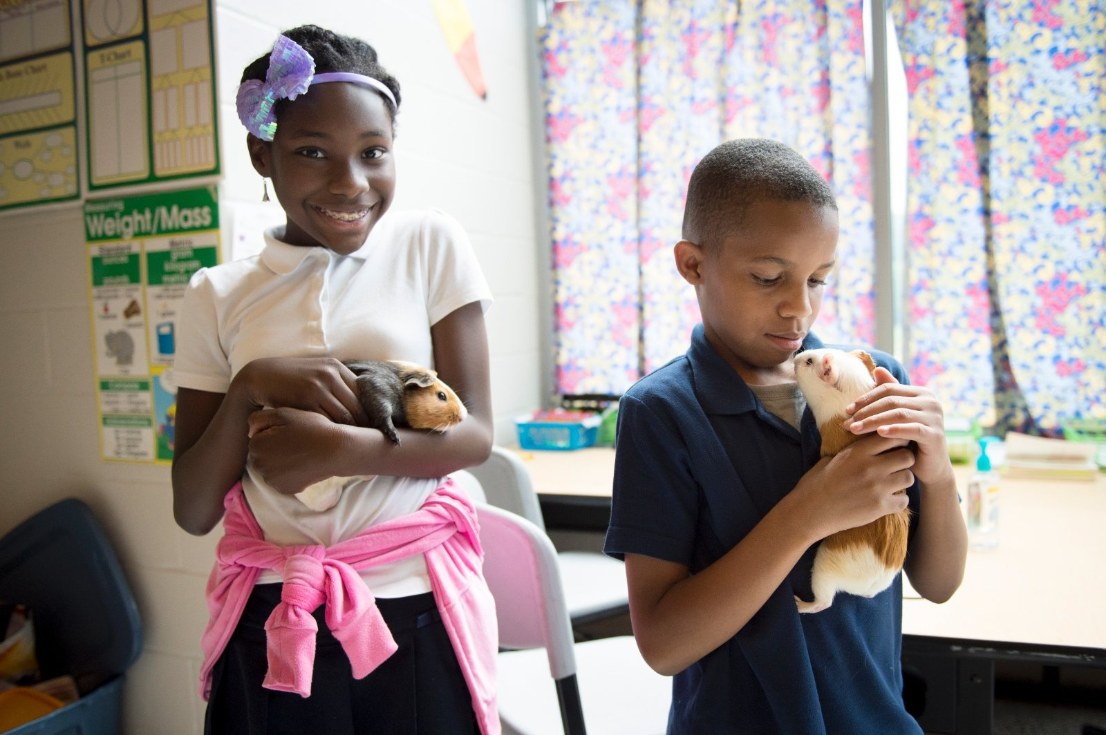 Two children hold guinea pigs in their classroom.