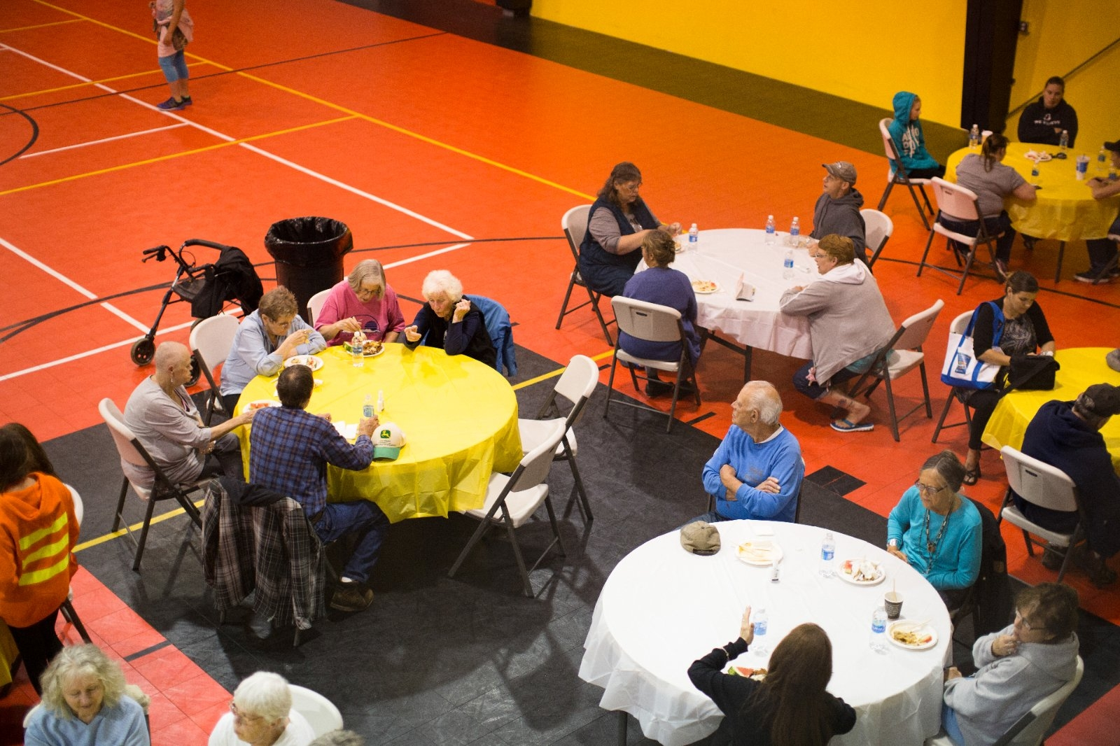 A community meal brings together a diverse group of people.