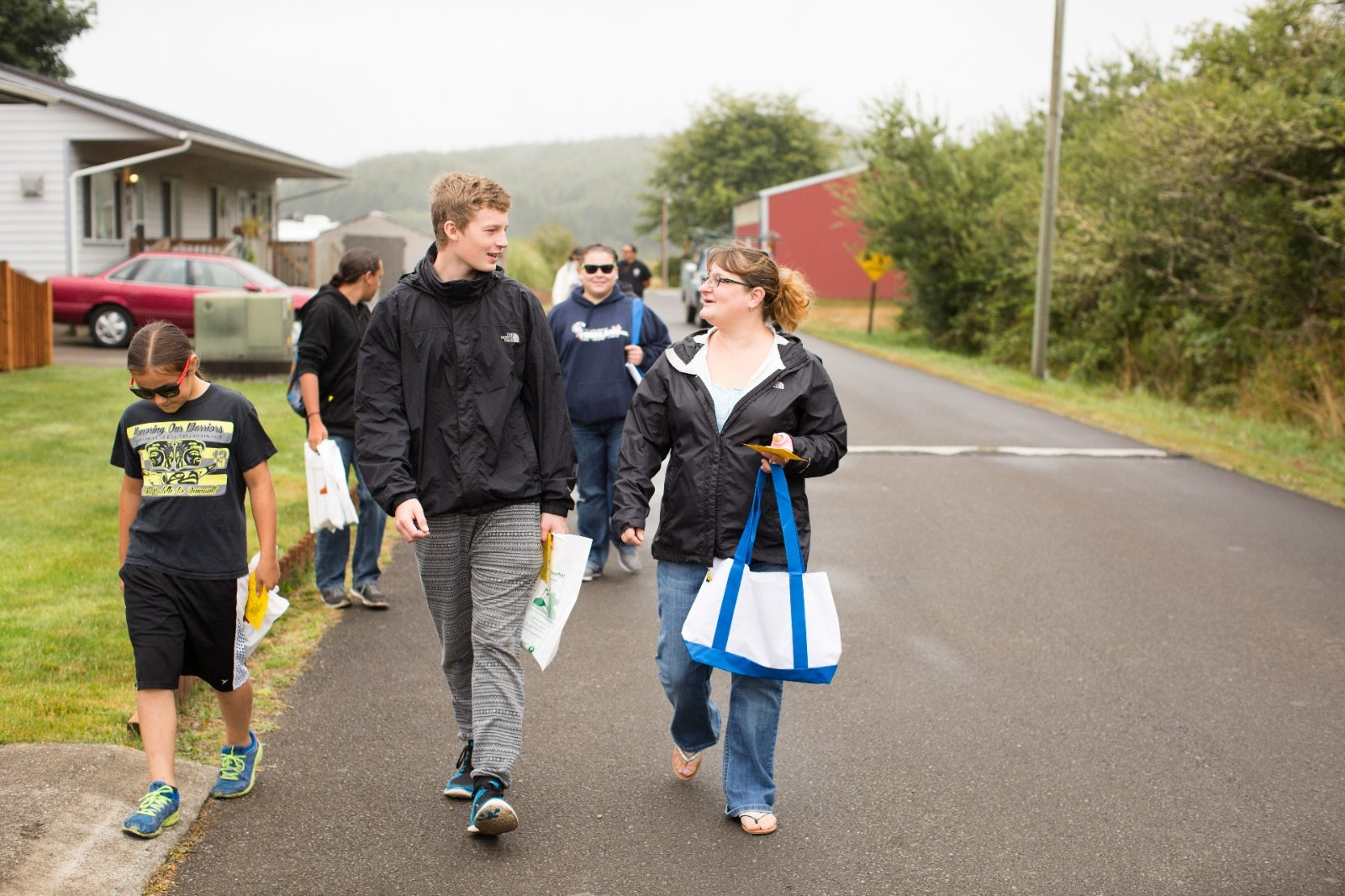 Residents of the Shoalwater Bay community walk a mapped route.
