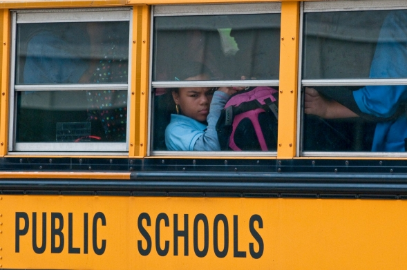 Students on a public school bus.