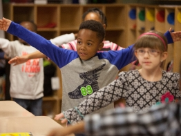 Children exercise in a classroom in Clinton Park Elementary School, Mississippi.