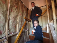 Volunteers help clean a house on Staten Island
