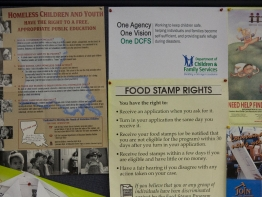 Posters and literatuare about social welfare, food stamps etc on a bulletin board.