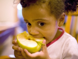 A young girl eating an apple.