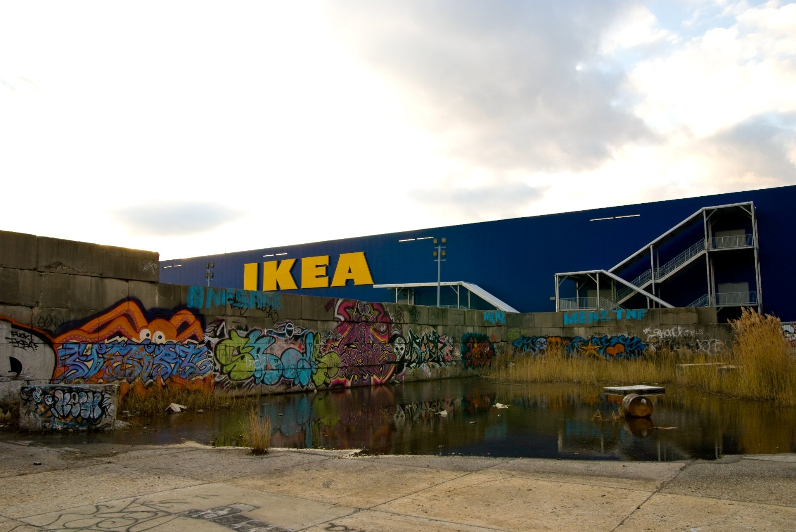 The IKEA in Red Hook, Brooklyn, NY after Hurricane Sandy.
