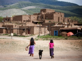 Children walking to their home in Taos, New Mexico.