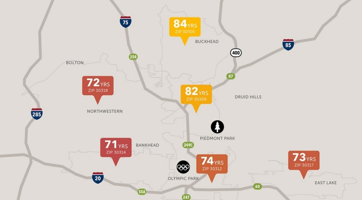 VCU Map shows the shortest distances between the largest gaps in health in Atlanta.