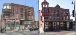 Boyle Hotel before and after renovations.