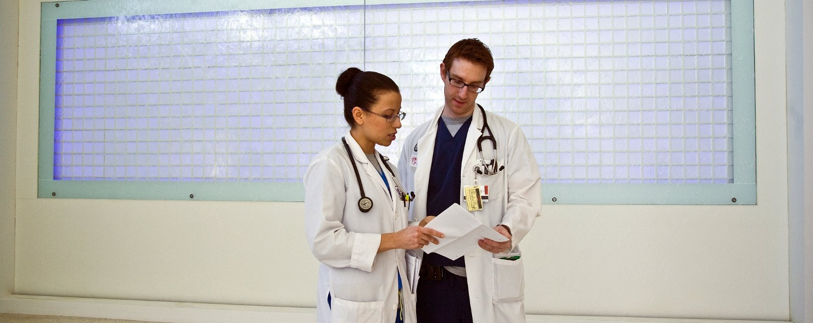 Two doctors standing in a corridor consult together over some paperwork.