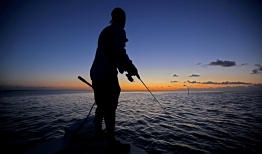A man fishes at dawn.