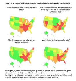 Maps show health outcomes and social-to-health spending.