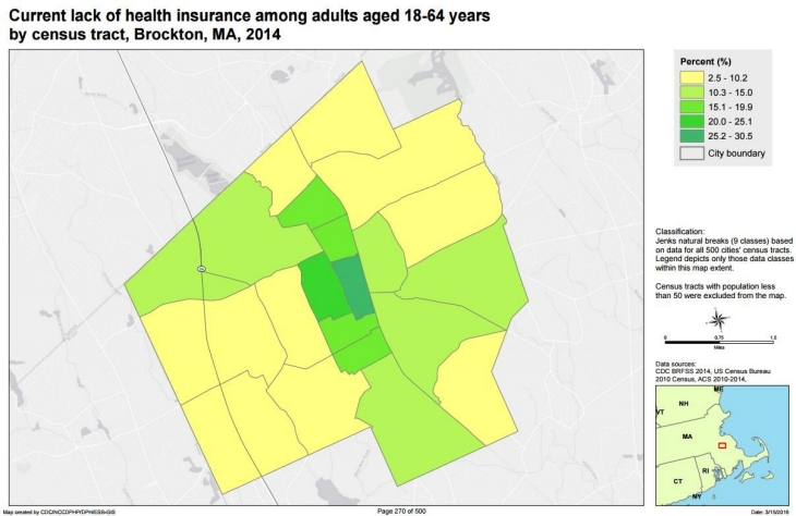 Lack of health insurance map