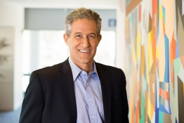 Richard Besser stands near a mural at RWJF in Princeton, N.J.