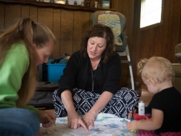 Nurse visits with mother and daughter who participate in Healthy Families Garrett County, an early care program for families and newborns.