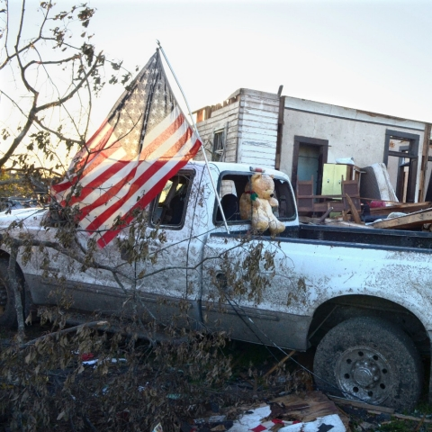 A home destroyed by a tornado.