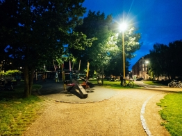 Folkets Park, Copenhagen, illuminated at night.