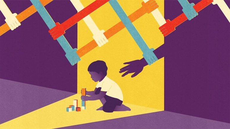 Graphic depicting child playing with blocks