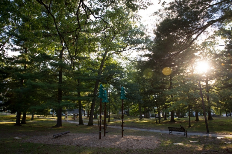 A city park offers a walking path for the community.