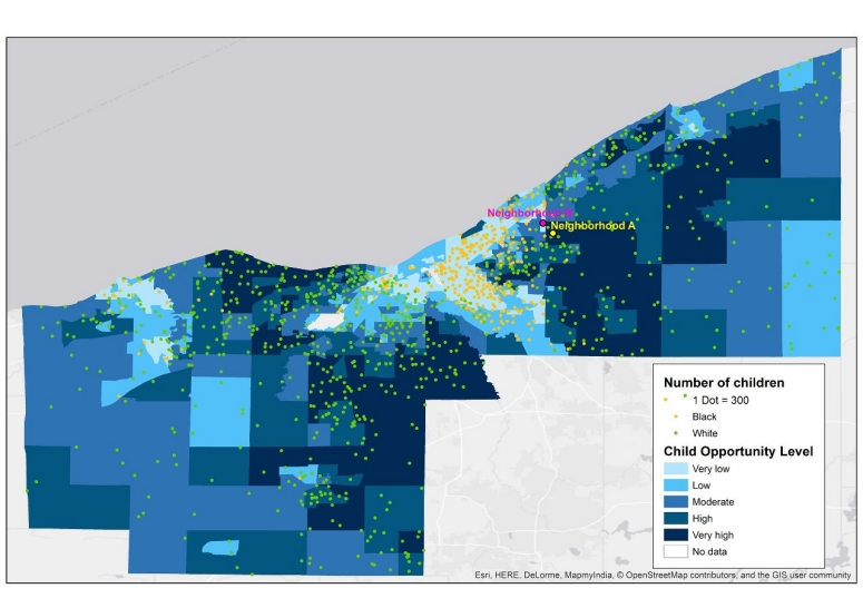 Map of Cleveland depicting opportunity levels by neighborhood.
