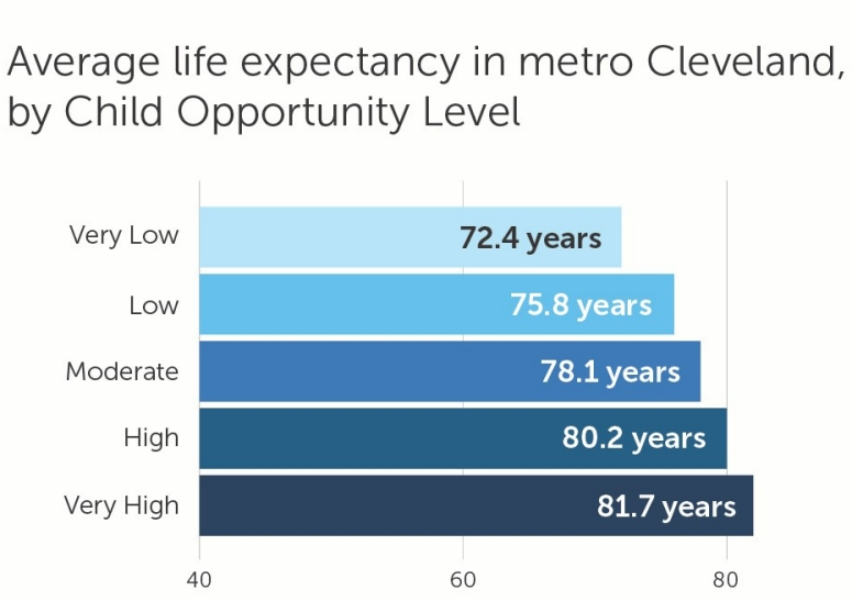 RWJF Life Expectancy Chart  in metro Cleveland.