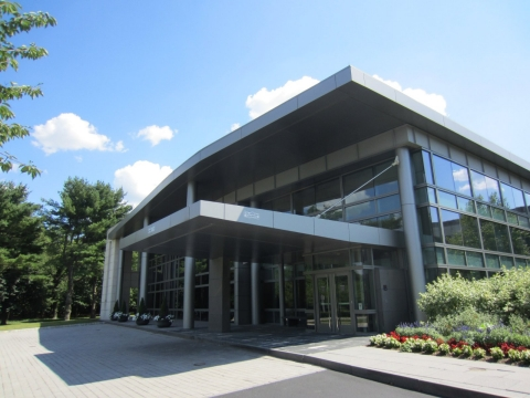 The front entrance of the Robert Wood Johnson Foundation in Princeton, N.J.