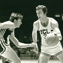 Steve Patterson playing basketball.