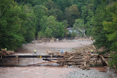 A flood damaged bridge. RWJF Flood Relief