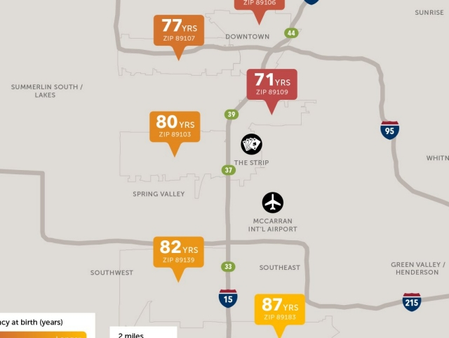 Las Vegas Life Expectancy Map