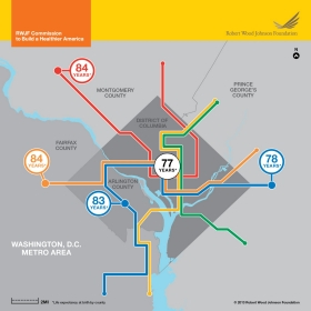 Washington D.C. life expectancy map