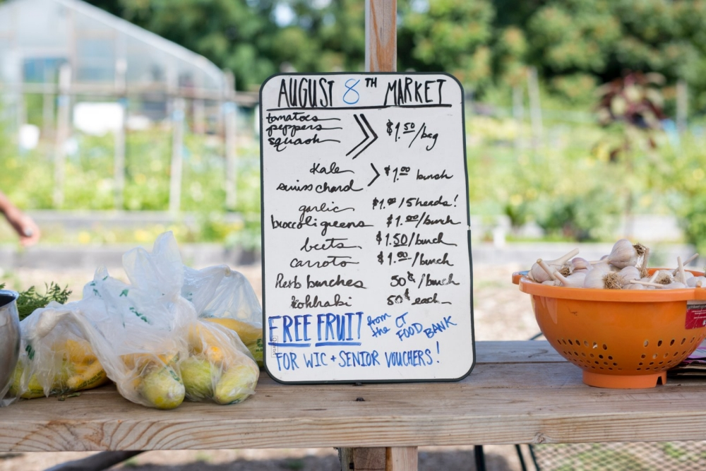 A vegetable menu at the Reservoir Farm in Bridgeport, CT.