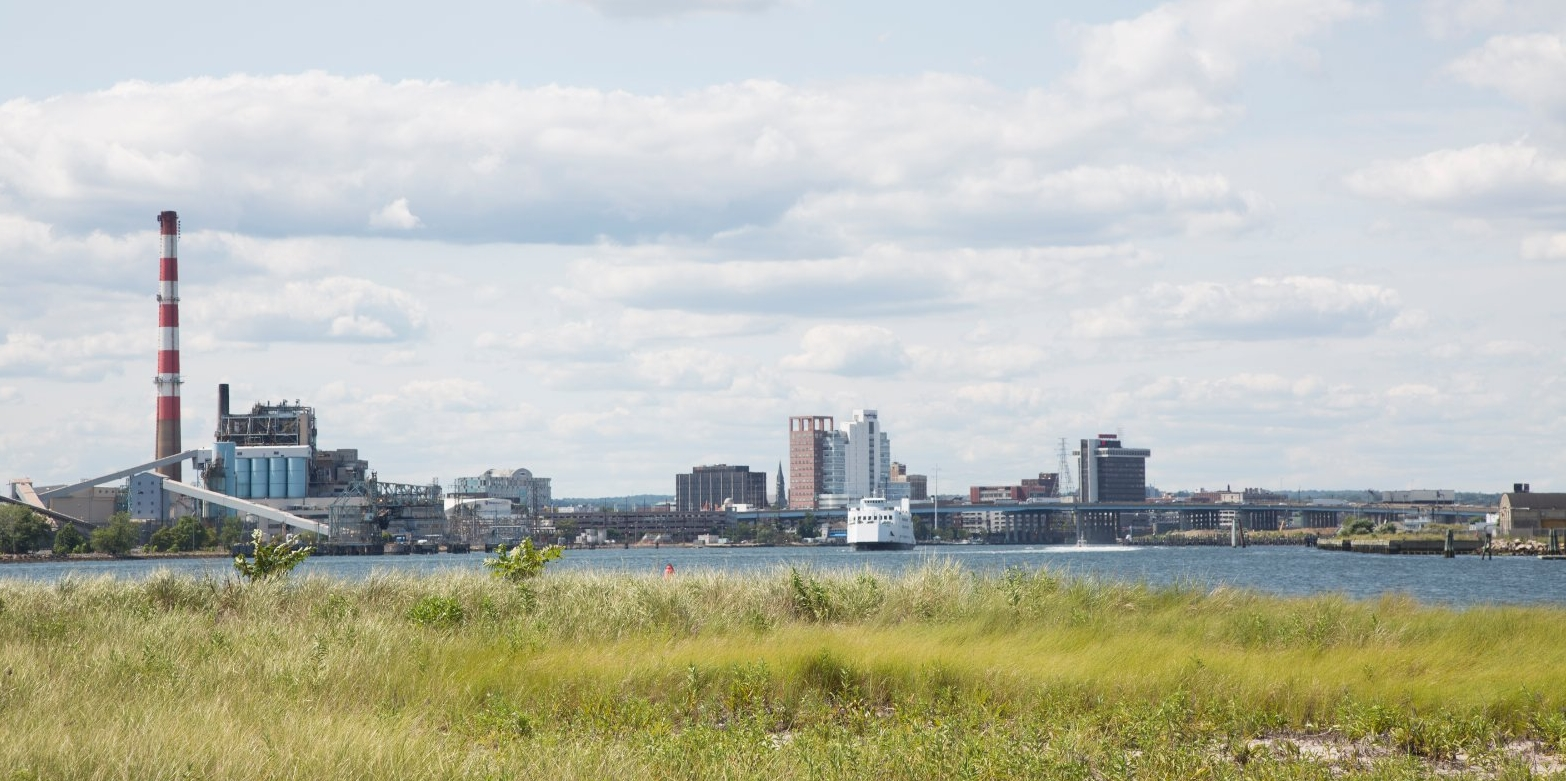 A scenic view of Bridgeport, Conn. from Pleasure Beach.