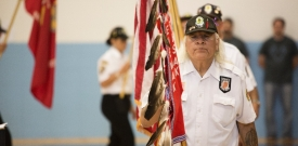 Participants in the Veteran Welcome Ceremony in Menominee Indian High School.