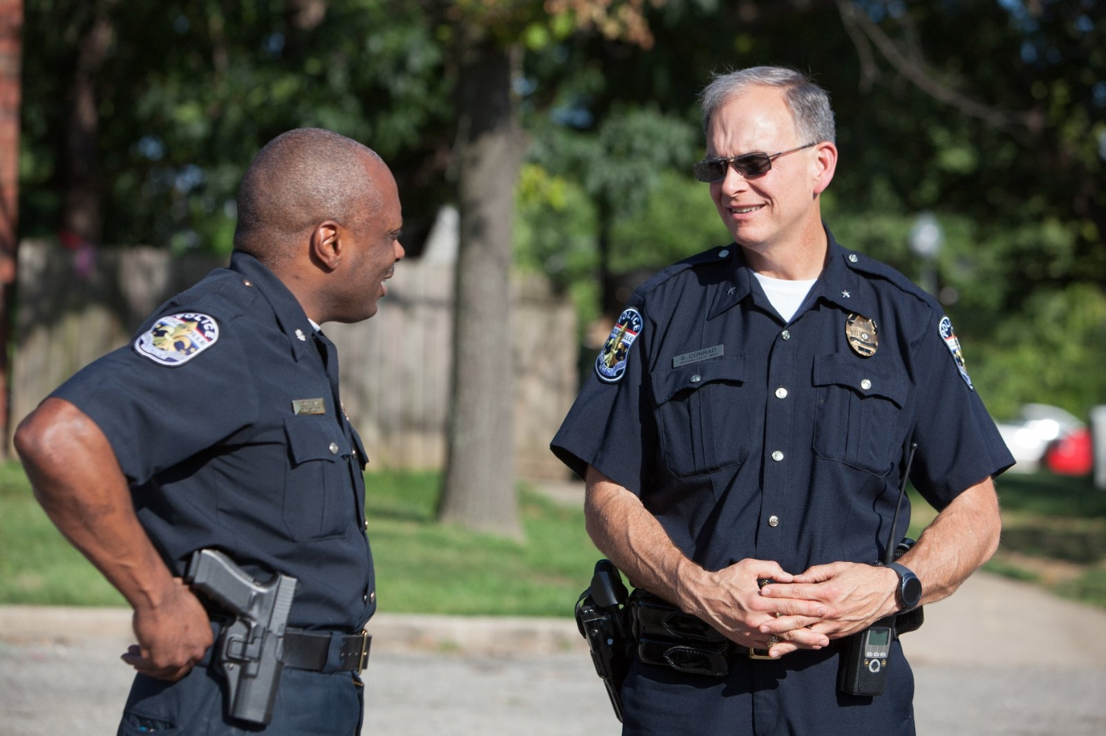 Two police officers talking..