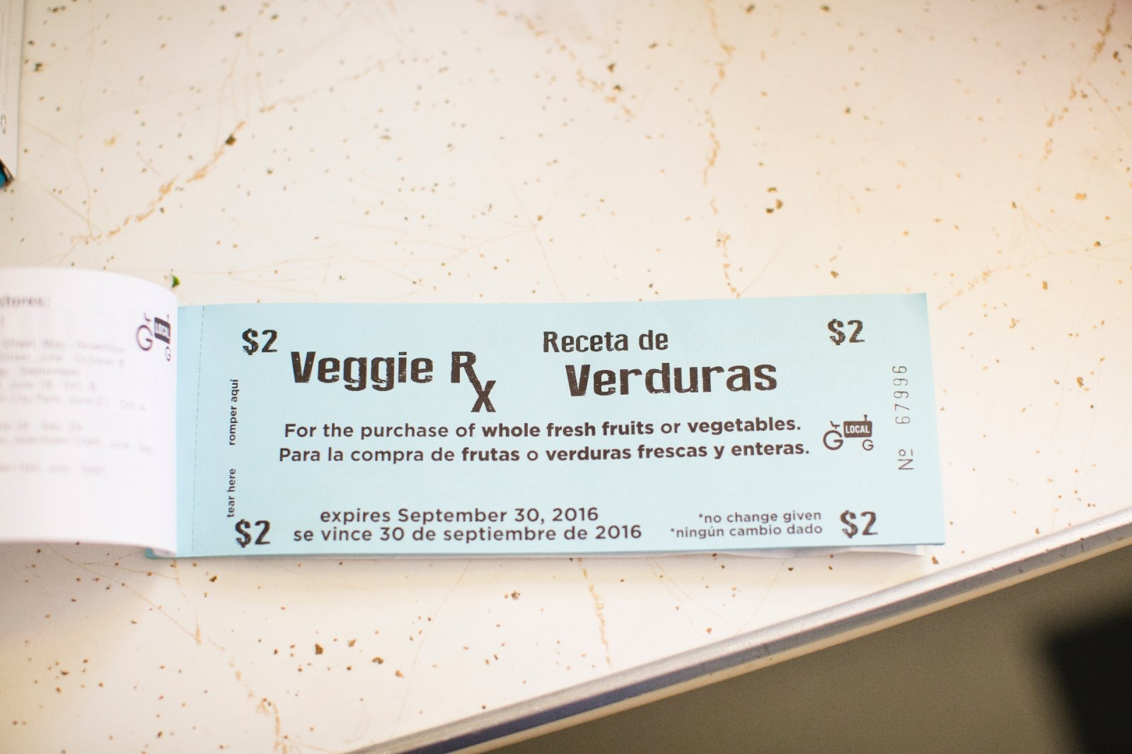 Voucher from doctor to receive free vegetables.