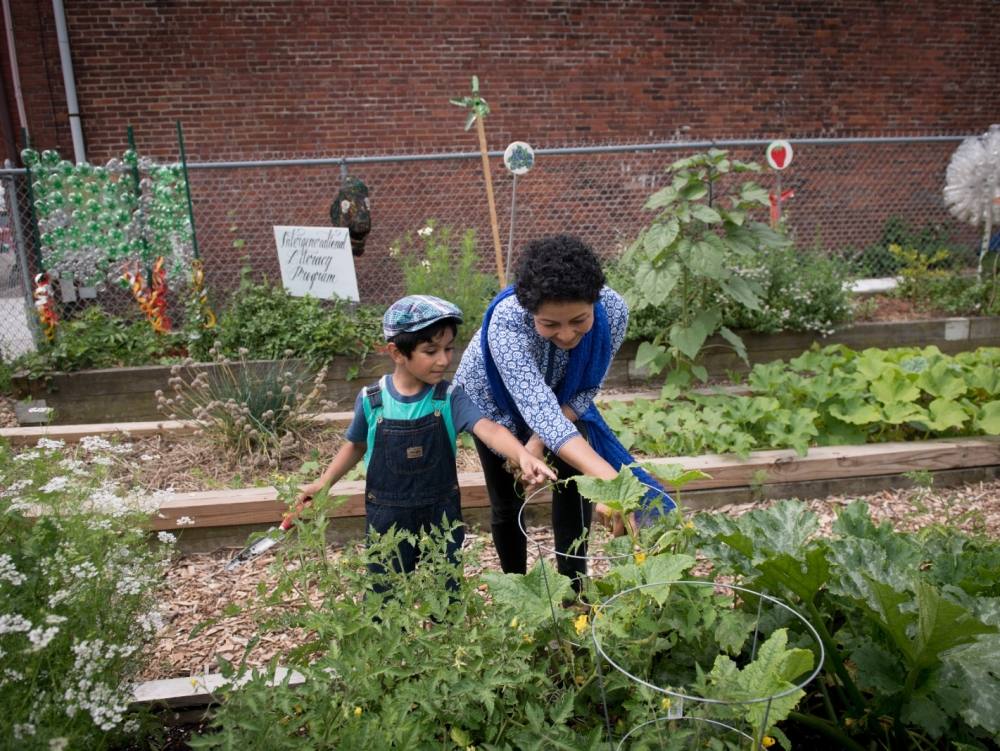 A mother and son tend to a community garden.