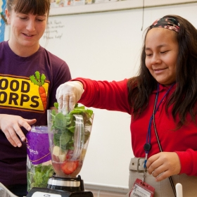 FoodCorps offers nutrition lessons in the schools.