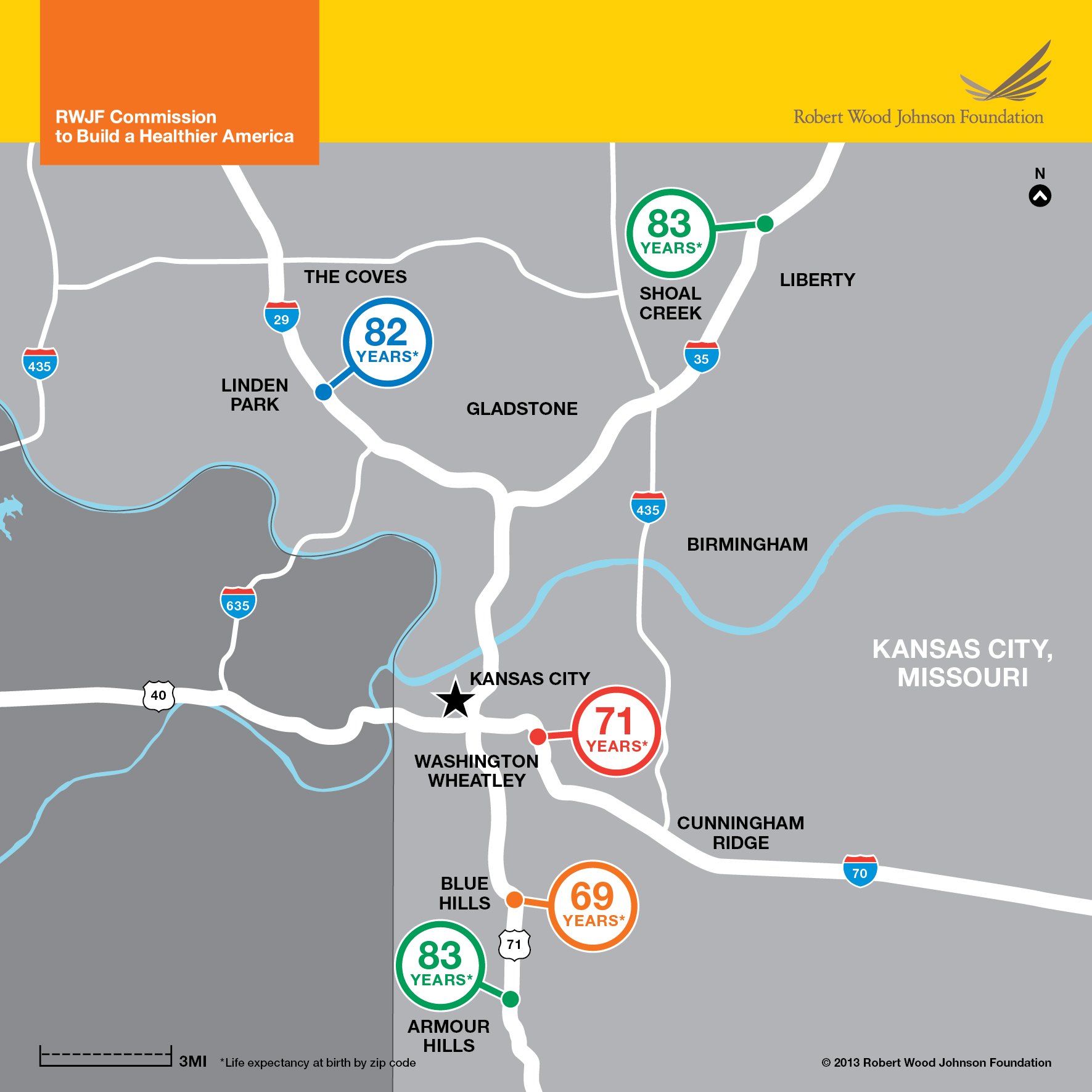 Kansas City, MO Map: Life Expectancy Disparties Infographic - RWJF