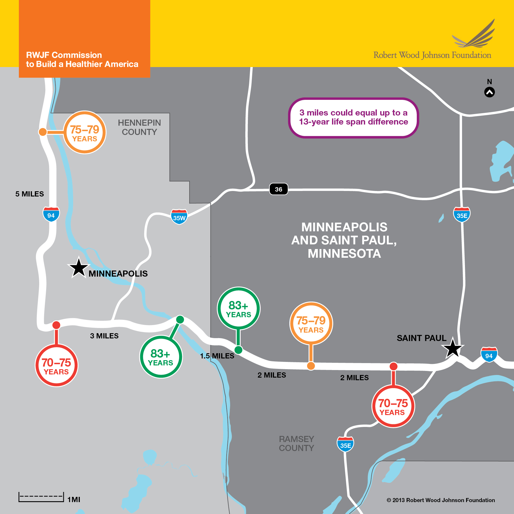 Life Expectancy Map: Minneapolis & St. Paul Area Infographic - RWJF