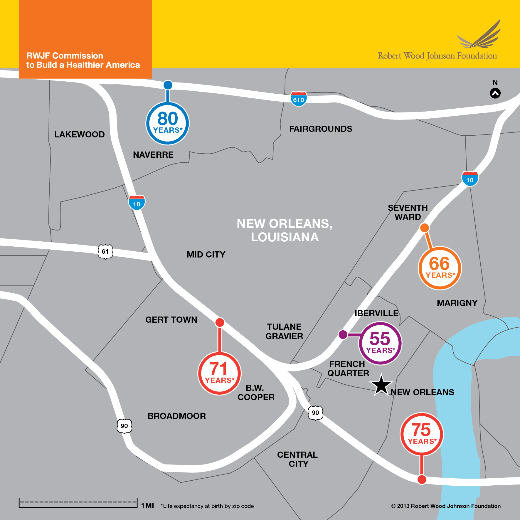Highway 80 Map Across Us Life Expectancy Map New Orleans Infographic Rwjf