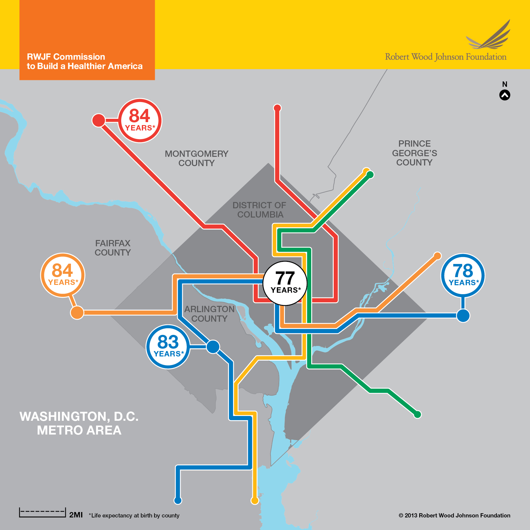 Life Expectancy Map: Washington, D.C. Area Infographic - RWJF